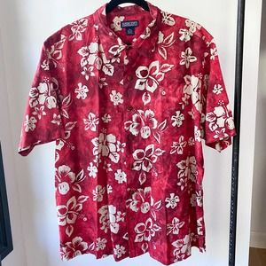 LAND'S END Hibiscus Hawaiian Shirt sz XL 17-17.5R
